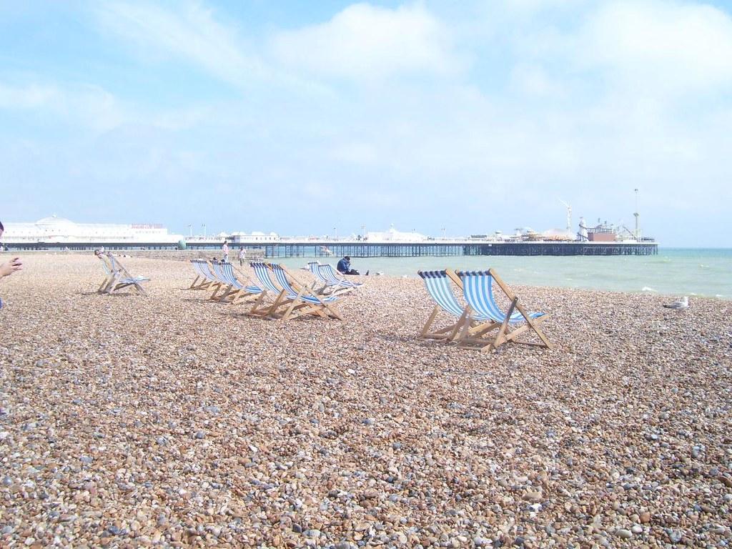 Deckchairs Brighton Beach England