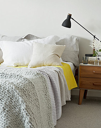 Jon day white gray yellow and black mid century vintage for Dayroom yellow bedroom