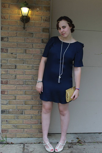 Outfit - Tucker for Target ruffled back dress, vintage gold clutch, Downton Abbey hair | by Célèste of Fashion is Evolution