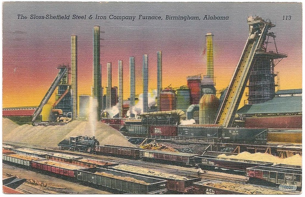 Vintage Postcard, Birmingham, Alabama | Sloss Furnace (blast… | Flickr