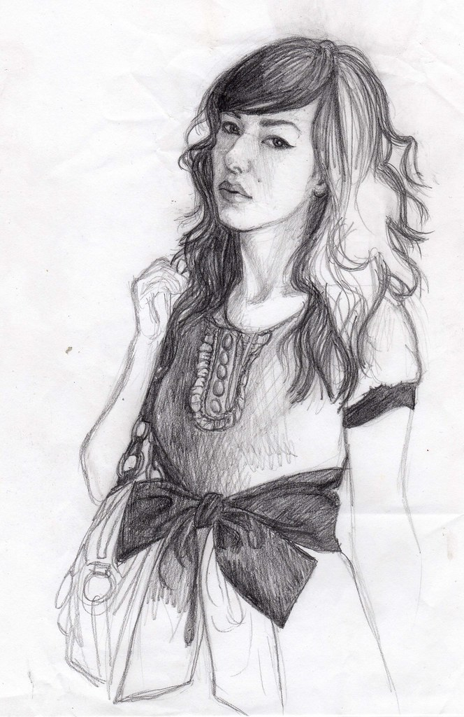 Pencil sketch of fashion girl with bow belt by girl eats art