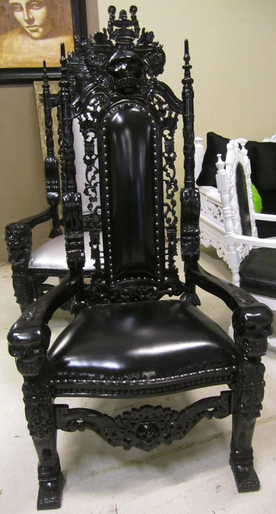 4060 Black Lacquer Skull Baroque Chair This Incredible