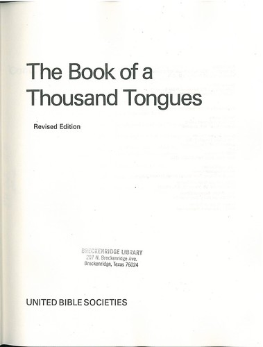 The Book of a Thousand Tongues 1972 Title | by bible_wiki