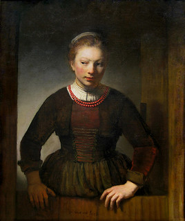 Rembrandt 'Girl at an Open Half-Door' 1645 Oil on canvas | by Plum leaves