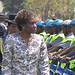 Judicial Service Commission Secretary Rita Makarau inspecting a police column. She has called for Zimbabwe to create rural courts.