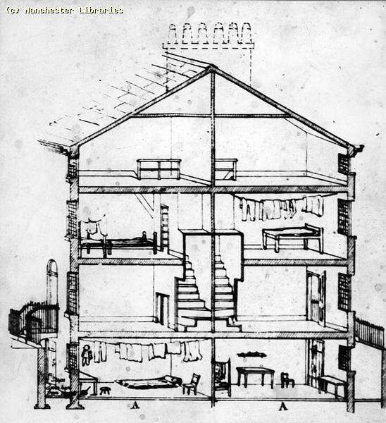 Diagram Of Back To Back Houses 1850 Ref No M08385 Manchester