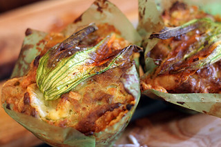 zucchini flower and duck egg muffins | by David Lebovitz