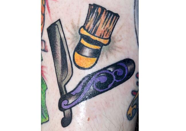 Shaving razor blade and brush tattoo | Citizen Ink | Flickr