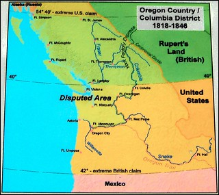 Map Showing Disputed Territory During The Oregon Boundary Dispute By Will S