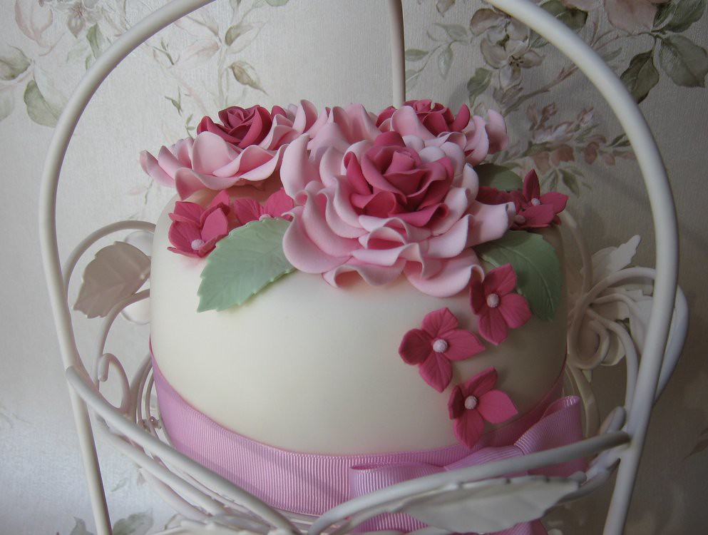 Pink vintage rose birthday cake Carrot cake with an ...