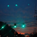 green lights at sunset