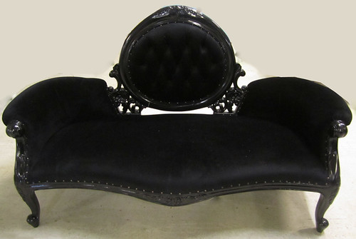 4062 BLACK LACQUER VELVET BAROQUE SETTEE | by Diva Rocker Glam (310) 652-8711