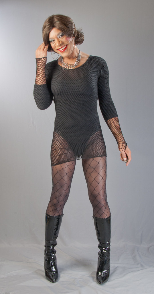 Fishnet Minidress Bodysuit Fence Net Hose Amp Knee Boots