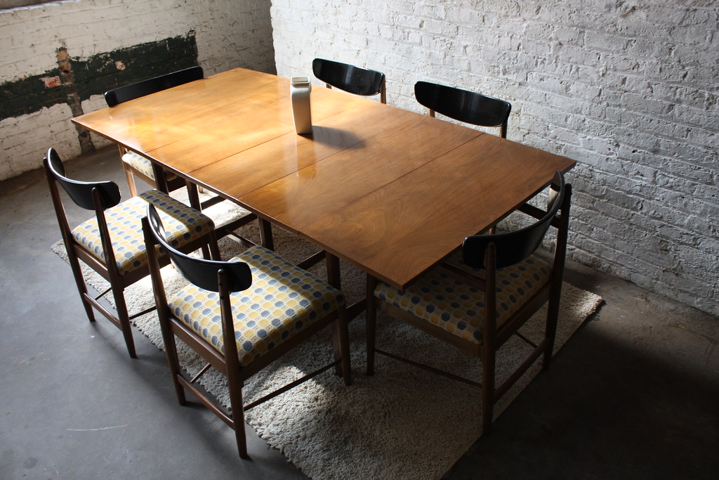 ... Versatile American Of Martinsville MCM Walnut Drop Leaf Dining Table |  By Kennyk@k2modern