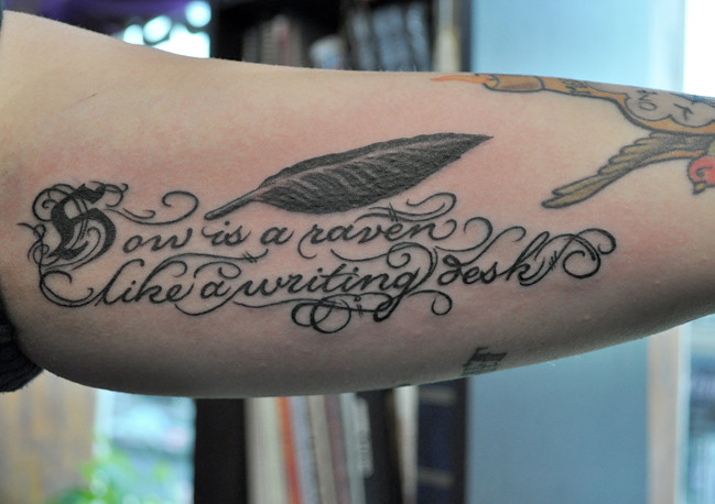 Arm Feather And Letters Tattoo | Citizen Ink | Flickr
