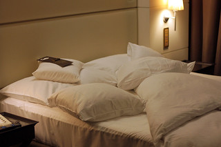 hotel bed, aka: my fortress | by David Lebovitz