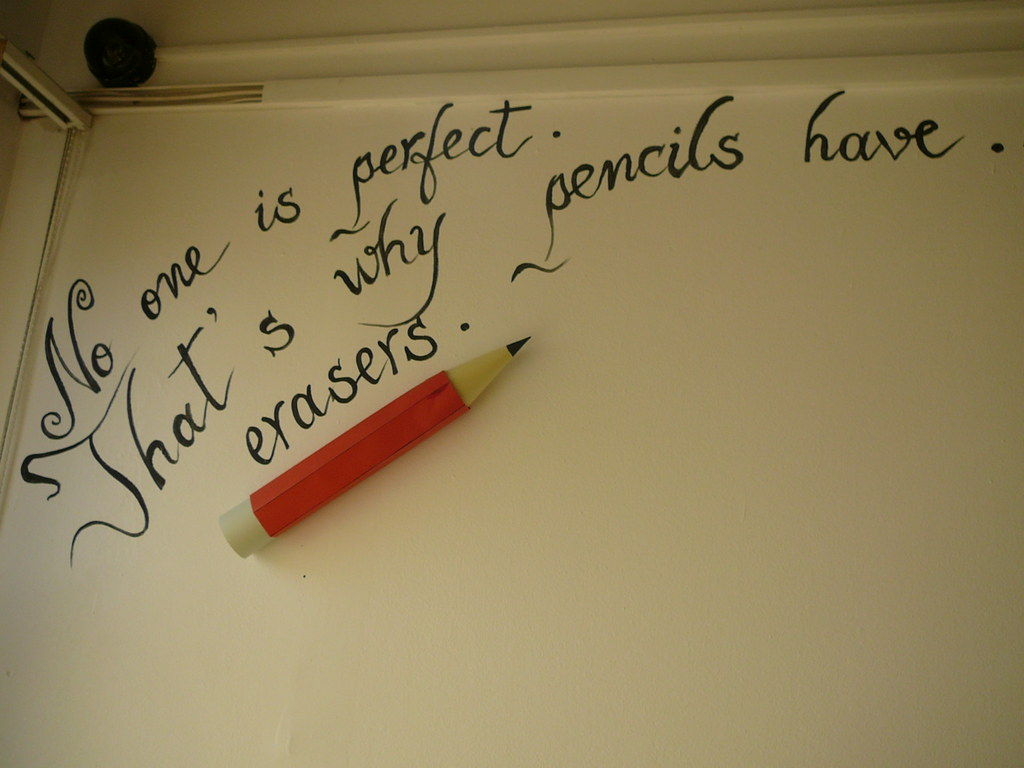 No One Is Perfect The Pencil Is Huge Made Out Of Paper