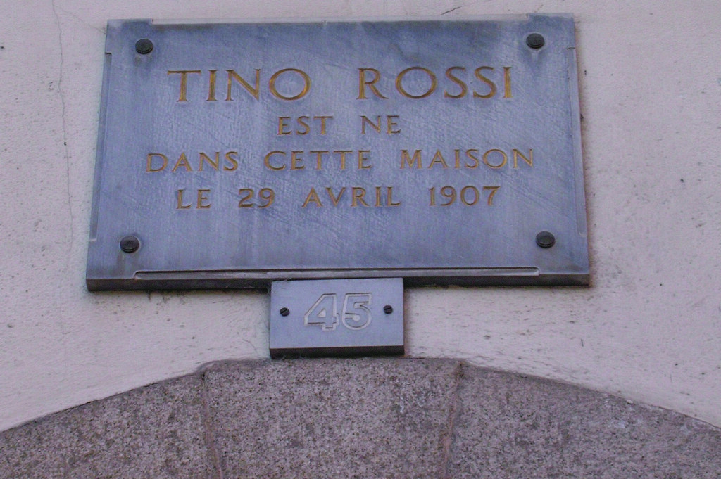 plaque indicative maison natale de tino rossi 45 rue du flickr. Black Bedroom Furniture Sets. Home Design Ideas