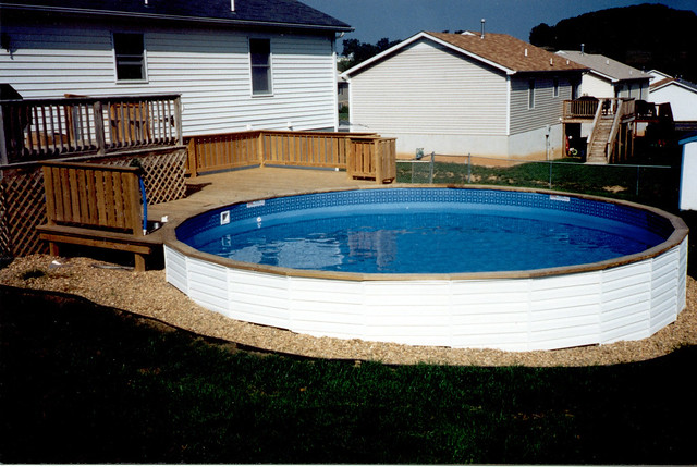Above Ground Pool On A Sloped Backyard : Medallion Pools St Croix Above Ground With Vinyl Siding Partial Wood