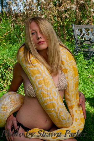 Simply Burmese python with nude girl