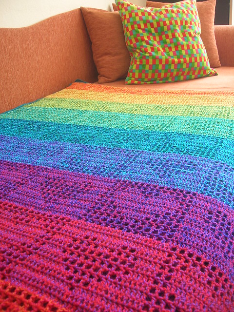 Rainbow Hearts Filet Crochet Afghan Curtain Now On