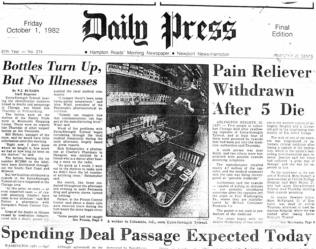 a report on the 1982 johnson johnson tylenol scandal A report on the 1982 johnson & johnson tylenol scandal tylenol case studywhen johnson and johnson found out that one of their main products lab report.