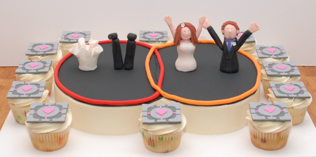 portal video game themed grooms cake