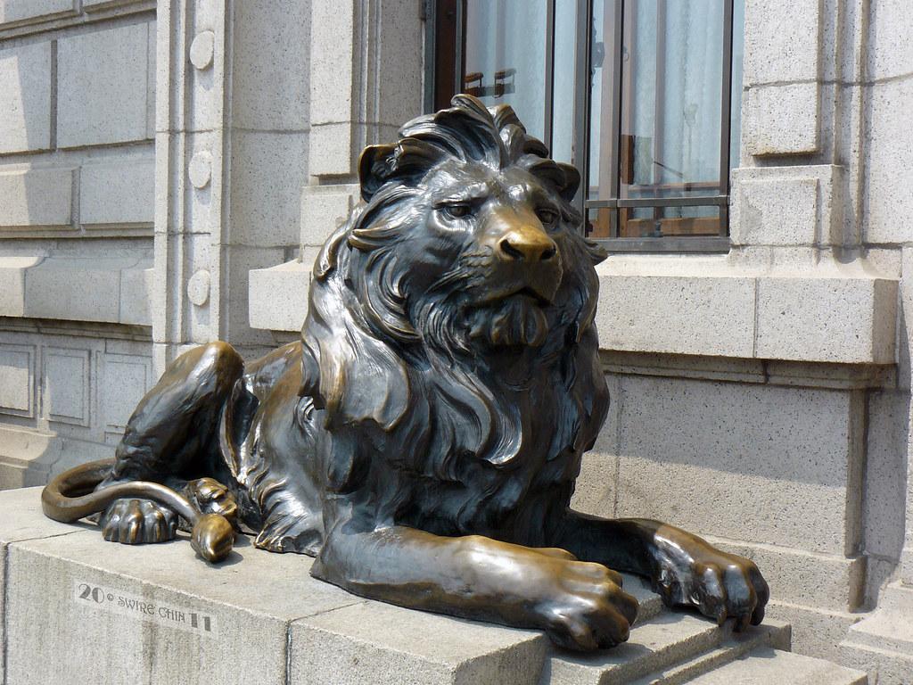 hsbc shanghais famous bronze lions the pair of bronze