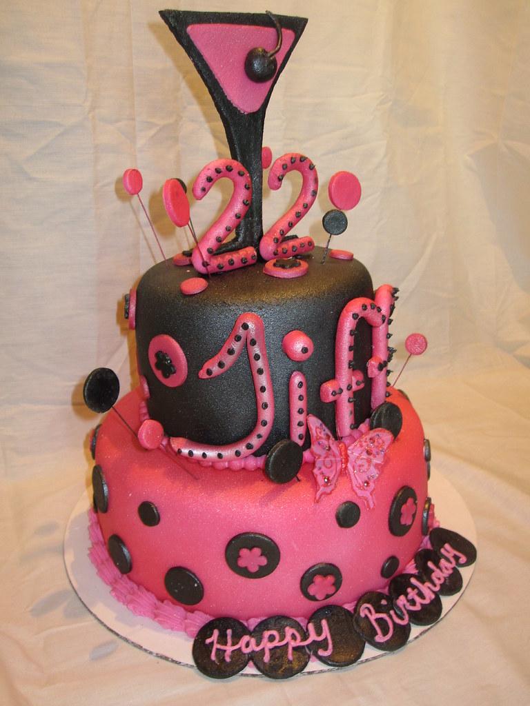 Martini Polka Dot Black And Hot Pink 22 Birthday Cake Flickr