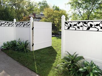 Windham Privacy Vinyl Fence In White With Decorative Inser