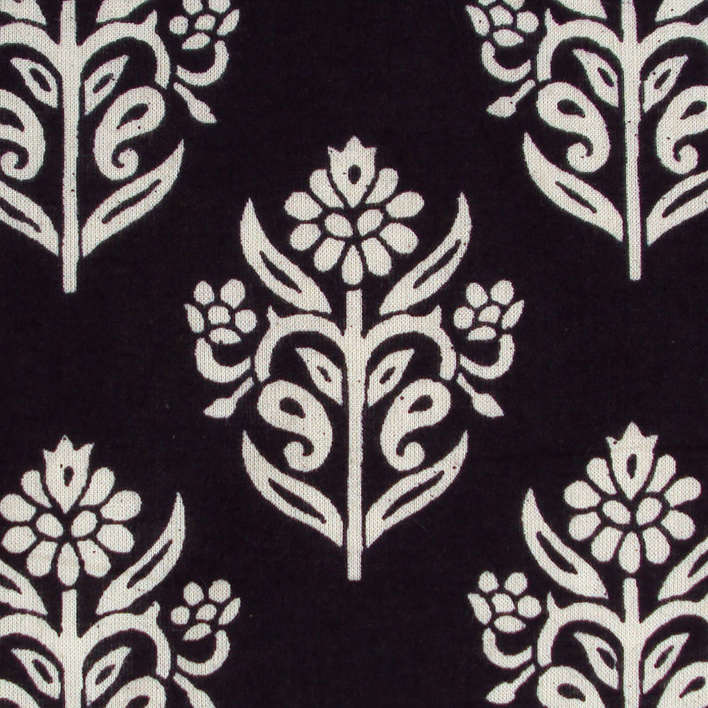 Indian block print floral cotton fabric black and white motifs by pallavik fabrics