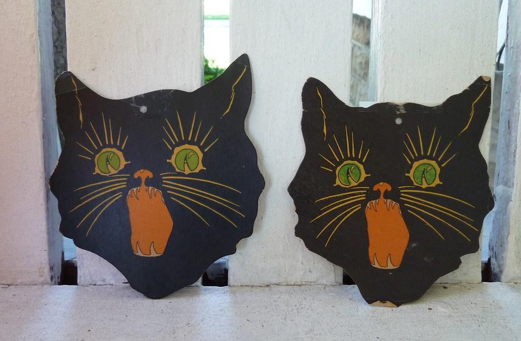 Vintage Halloween Decorations--Black Cat Die Cuts