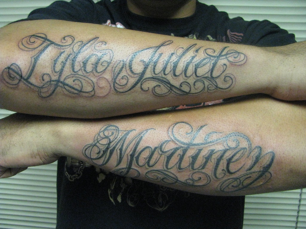 Names On Arms Tattoo Of First And Last Name On Sleeves