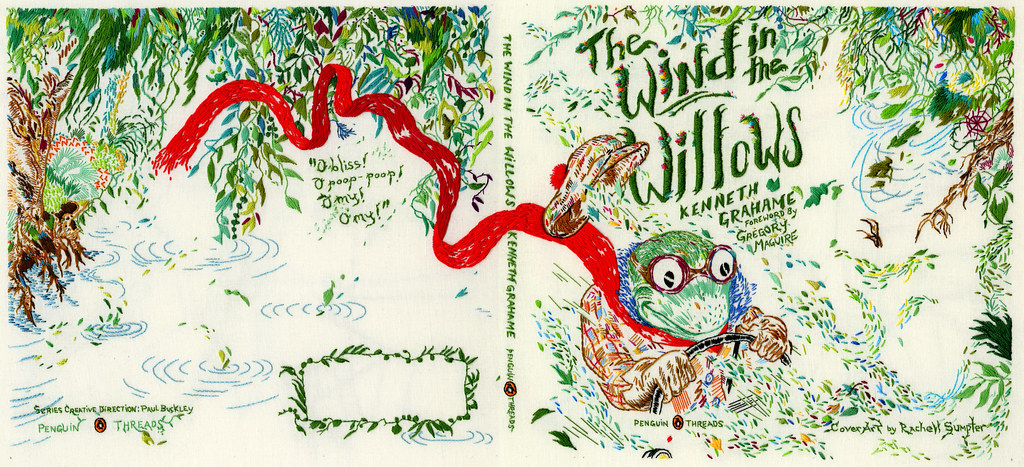 Children Book Cover Design By Hand : Wind in the willows hand embroidered book cover for