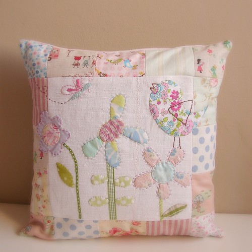 Cushion patchwork bird butterfly and flowers2 | by Roxy Creations