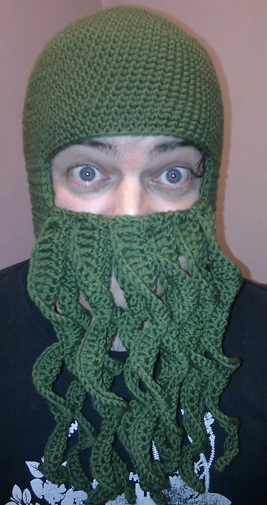 Crochet Cthulhu Beard Hat The Completed Hat Modelled By Jo Flickr