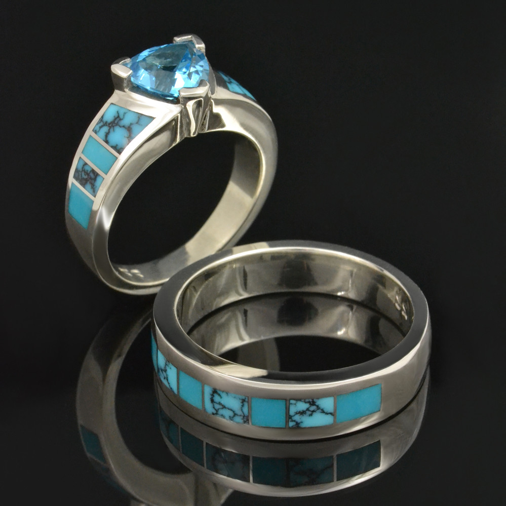 Spiderweb Turquoise And Turquoise Wedding Ring Set