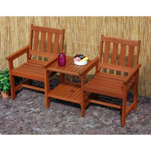 Tete A Tete 2 Seater Hardwood Garden Bench With A Twist