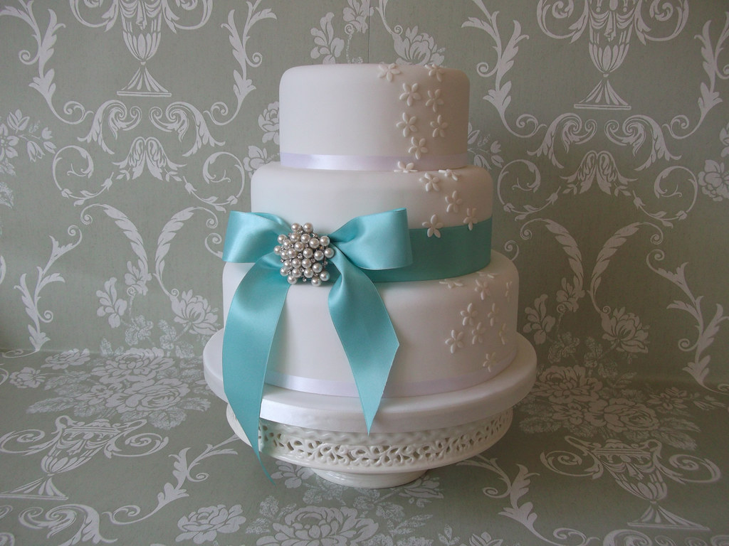 Aqua Blue And White Three Tier Fun Polka Dot Wedding Cake