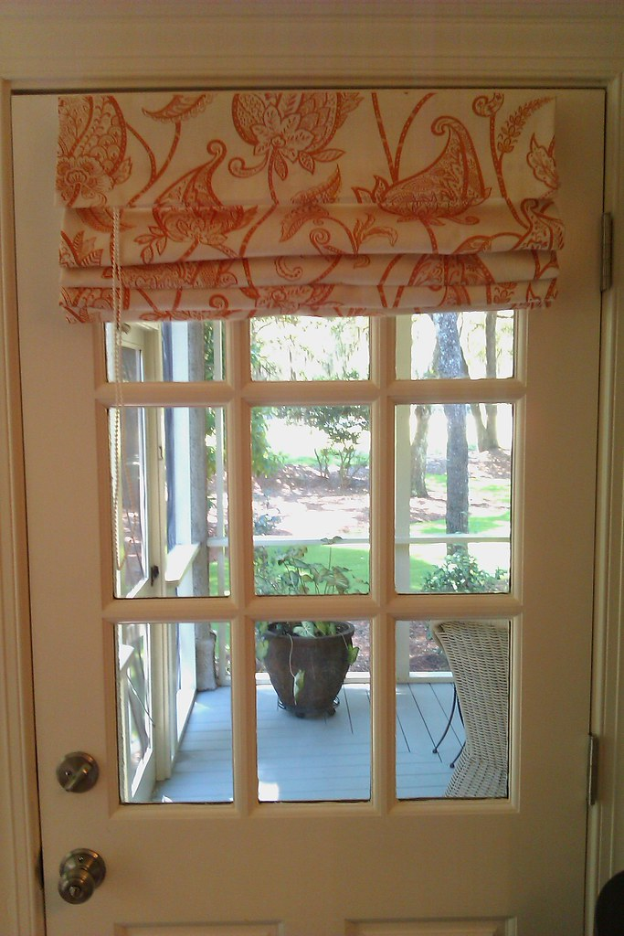 Roman Shade In Orange Modern Paisley Print A Working