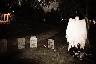 Cemetery scene w/ pumpkin head ghost | by RachelC.Photography