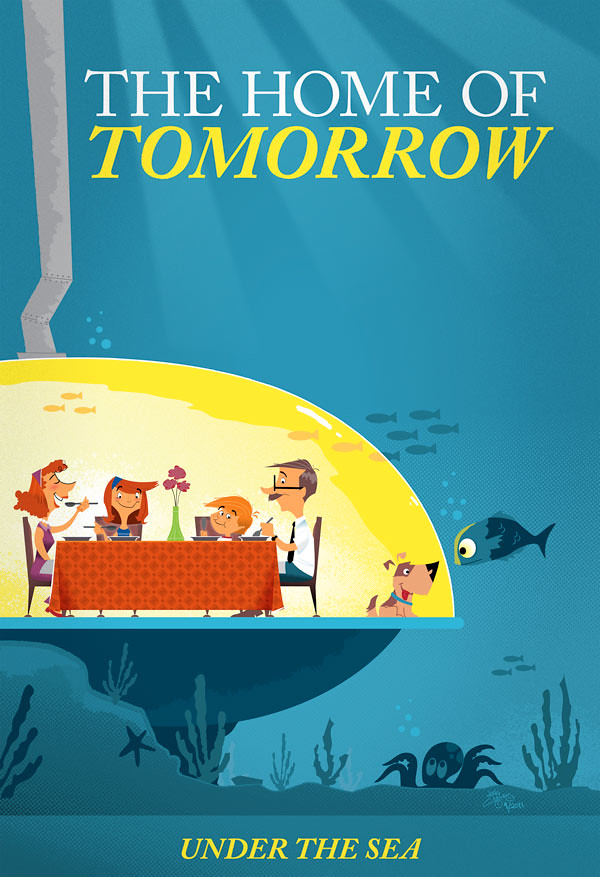 Underwater home of tomorrow retro vector illustration of for Tomorrow s home