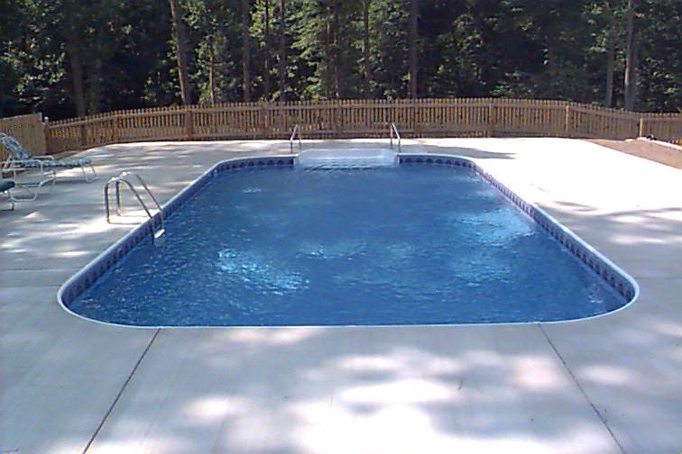 Inground Swimming Pool Rectangle 4ft Radius Concrete Deck