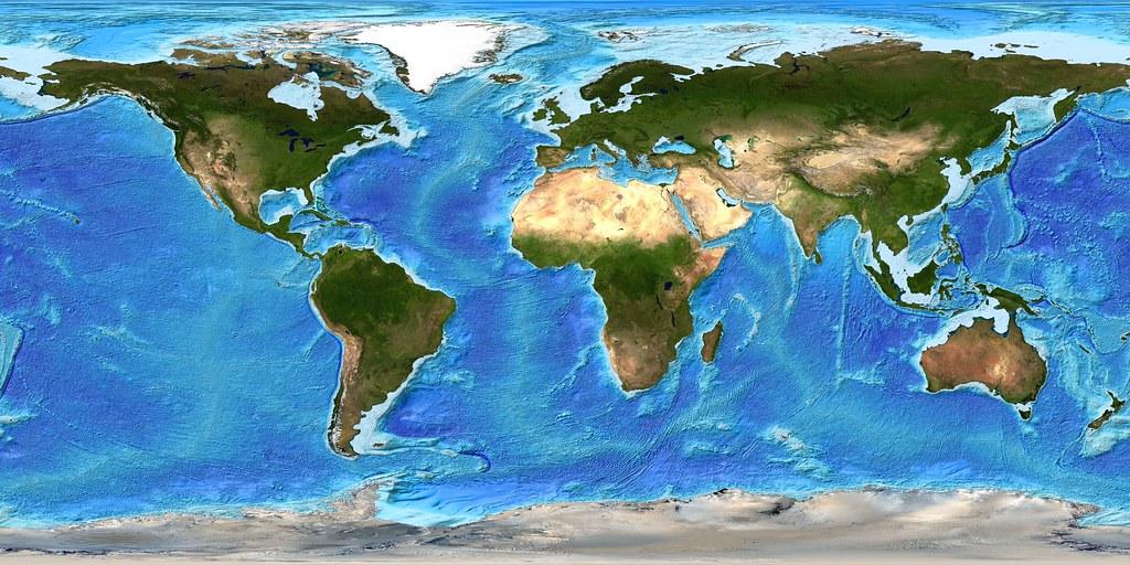 Global Bathymetry DEM With Satellite Landmass Version Flickr - Dem global