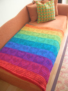 Rainbow Hearts Filet Crochet Afghan / Curtain | by babukatorium