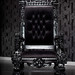 4061 BLACK LACQUER BAROQUE THRONE CHAIR