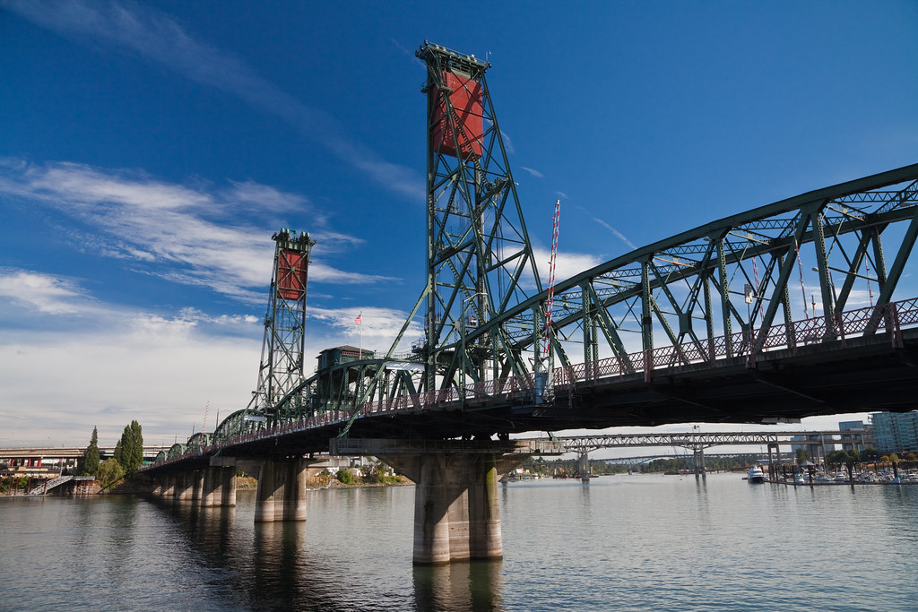 Hawthorne Bridge In Downtown Portland Oregon  The