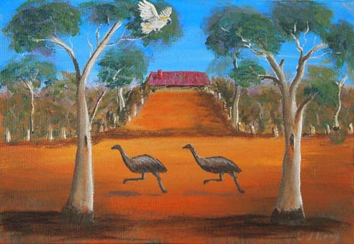 Emus on the outback highway australian abrstract landscape for Australian mural artists