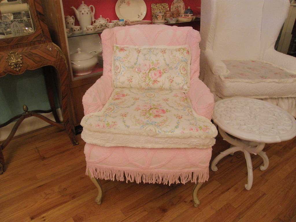 French Chair Shabby Chic Pink Slipcover Vintage Chenille B