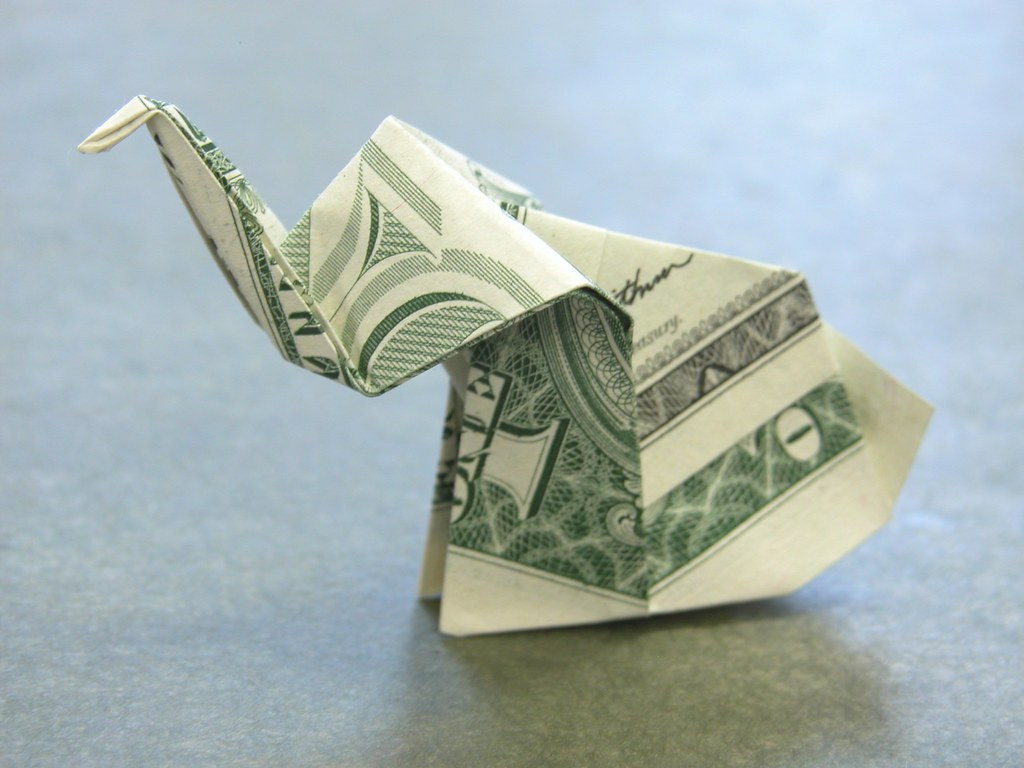 Dollar Bill Origami ELEPHANT - Great Gift from VincentTheArtist | 768x1024
